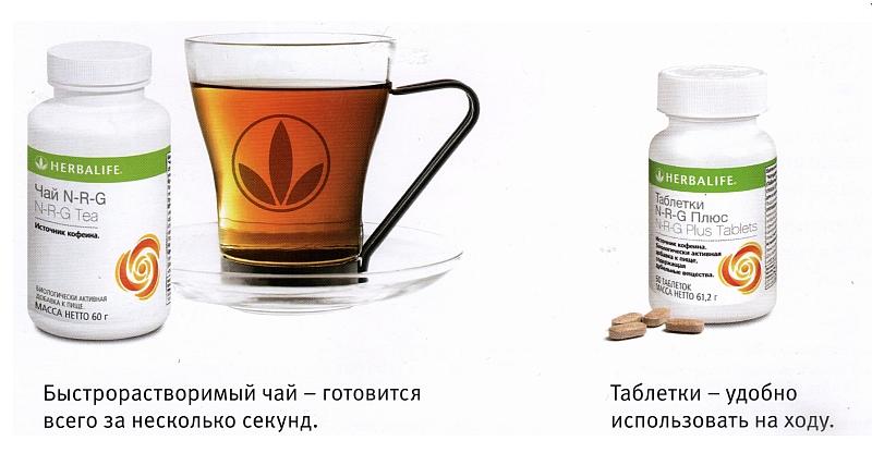 Таблетки и чай N-R-G